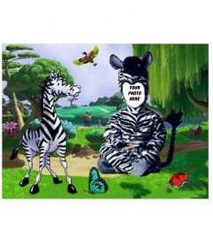 Put a costume zebra to your kids with this photomontage online
