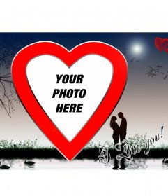 """Valentine""""s postcard in the lake, red heart-shaped"""
