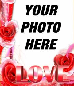 Love photo frame with border of roses and the word LOVE in big size. To do with your photos