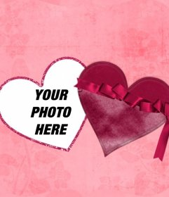 Online effect of a photo inside a heart as if it were a box with pink background