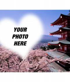 Photomontage in Fuhiyama Japan with almond flowers and a heart-shaped frame to place your photo