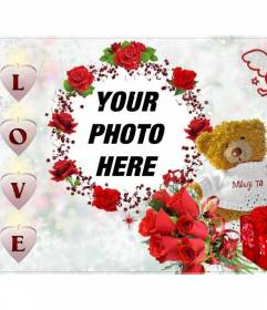 Photo frame, with the word LOVE in the form of a teddy bear with pink hearts