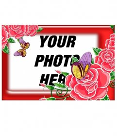 Gaudy red frame with roses and buds open, we can see two beautiful butterflies in pink and yellow, give your photos a feminine touch