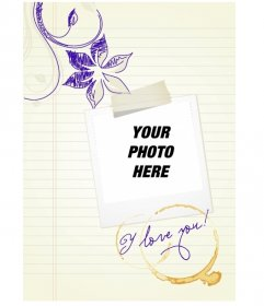 Photo frame to put the picture of you or your love polaroid type on patterned sheet