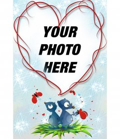 "Heart-shaped frame and blue background with two animals, hearts and butterflies. Great remember  for lovers on Valentine""s Day"