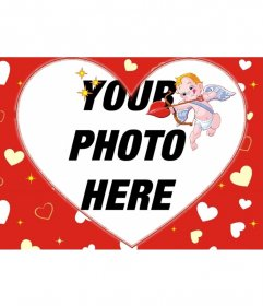 Photo frame for a photo in heart shape and red background of hearts and Cupid
