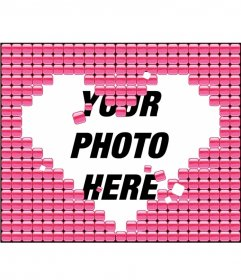 Put your photo inside a heart made up of many blocks of pink