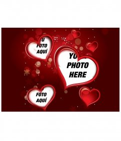 "Setting red to a digital photograph that appears in three hearts. Complement your gift this Valentine""s loving detail"