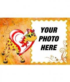 Giraffe Photo Frame in love inside a heart. Put your photo inside the frame