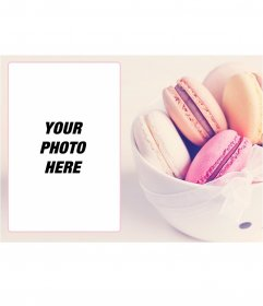 Photo frame with a picture of macarons