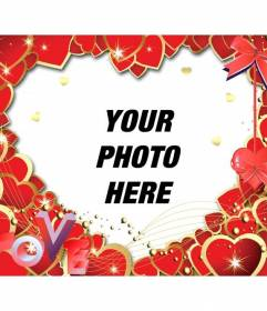 Photo frame made with red hearts and the letters LOVE to put a photo