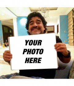 Photomontage with Maradona clutching your photo with your photo and text