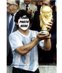 Become in Diego Armando Maradona lifting the World Cup football