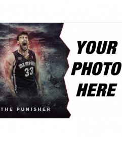 Online photomontage of basketball player Marc Gasol