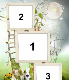 Photo frame for 3 photos with two ducklings decoration, a rabbit and a staircase that seems to rise to the moon