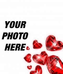 Red heart shaped diamonds with light flashes to decorate your romantic photographs