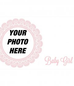 Frame with pink embroidered detail to the picture of a newborn girl