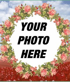 Photo frame with an illustration of pink flowers for your photos