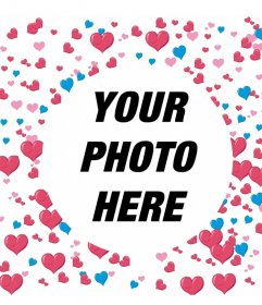 Frame to add your photo decorated with many hearts