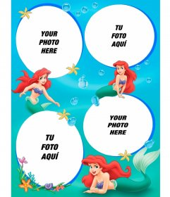 Photo frame for 4 pictures of the Little Mermaid