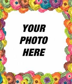 Multicolor flower frame for photos