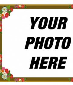 Border for photos with decorative flowers that you can edit online