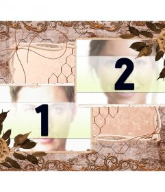 Collage of two pictures with a vintage composition of leaves, flowers and decorations in ocher