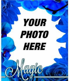 Photo frame made of blue flowers like orchids and roses to put your photo on the background