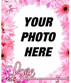 Photo frame made of pink flowers such as cherry blossoms to put your photo on background