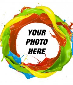 Frame of a circle of colors paint where you can add your photo
