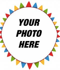 Free colorful photo frame for your photo with party pennants