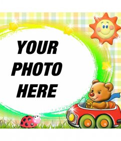 Decorative frame for children with a tender teddy bear and a sun