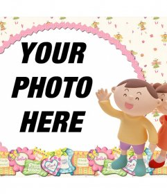 Friendly photo frame for your photos and with two children