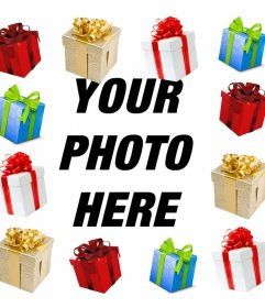 Photo effect of a picture frame with gifts for your photo