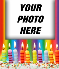 Photo effect with birthday candles for your photo