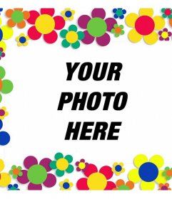 Picture frame with many colorful flowers to decorate your pictures