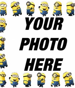 Free picture frame with the Minions to upload a photo