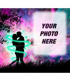 Love photo frame with a silhouette of two lovers kissing in the woods with the starry sky violet
