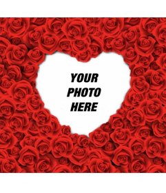 Photo frame with a heart shape filled with red roses for your romantic love photos