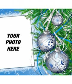 Photo frame for personalized online decorated with a Christmas tree