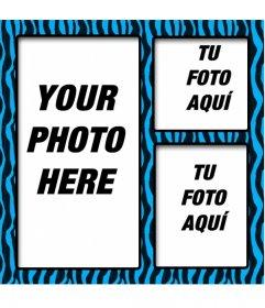 Blue photo frame of black animal print for three photos