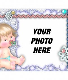 Photo frame with a baby to personalize with your photo