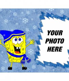 Children frame of Bob Esponja with hat and scarf