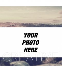 Photo frame edged of clouds with the word CREATIVE cloud in different typefaces to make online