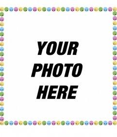 Photo frame with many moods emoticons edge