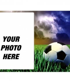 Sports picture frame with a picture of a soccer ball on green grass