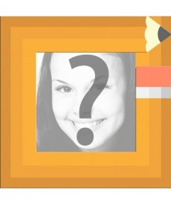 Children photo frame for students with the edge like a pencil