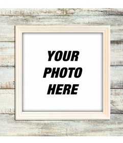 Wooden digital picture photoframe on a light wooden wall to customize your photographs