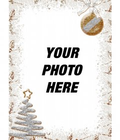 Vertical Christmas decoration for photos with a tree