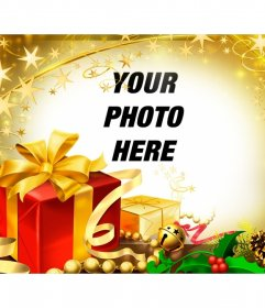 Photo frame for Christmas gifts and golden highlights